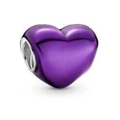 799291C01 шарм фиолетовое сердце металлик шарм pandora